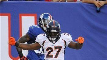 Denver Broncos running back Knowshon Moreno (no. 27)