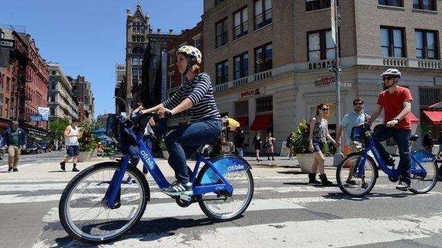 An undated photo of a Citibike rider in