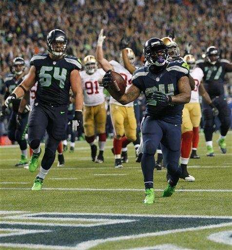Seattle Seahawks running back Marshawn Lynch (24) runs