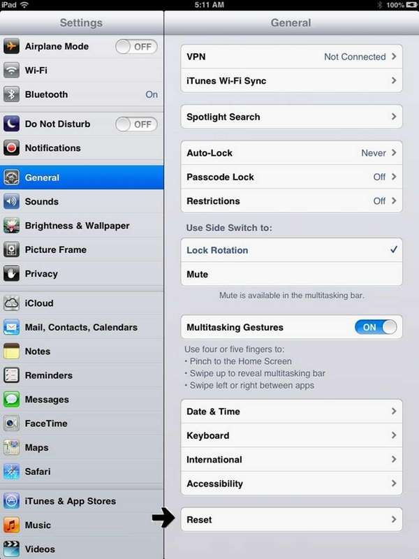 The settings and reset screen from Apple devices.