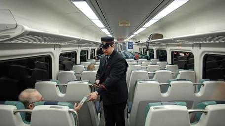 An LIRR train, one of the newer models,