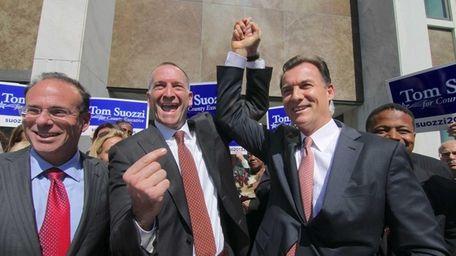 Nassau County Democratic Chairman Jay Jacobs, left, Adam