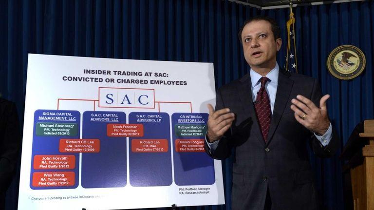 U.S. Attorney Preet Bharara, shown speaking at a