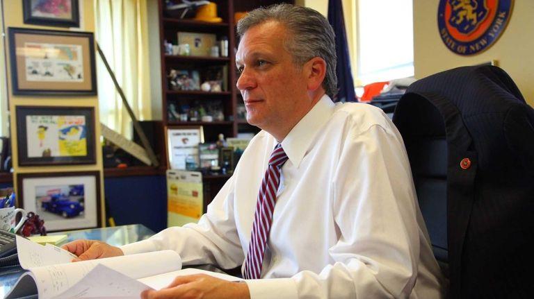 Nassau County Executive Edward Mangano works in his