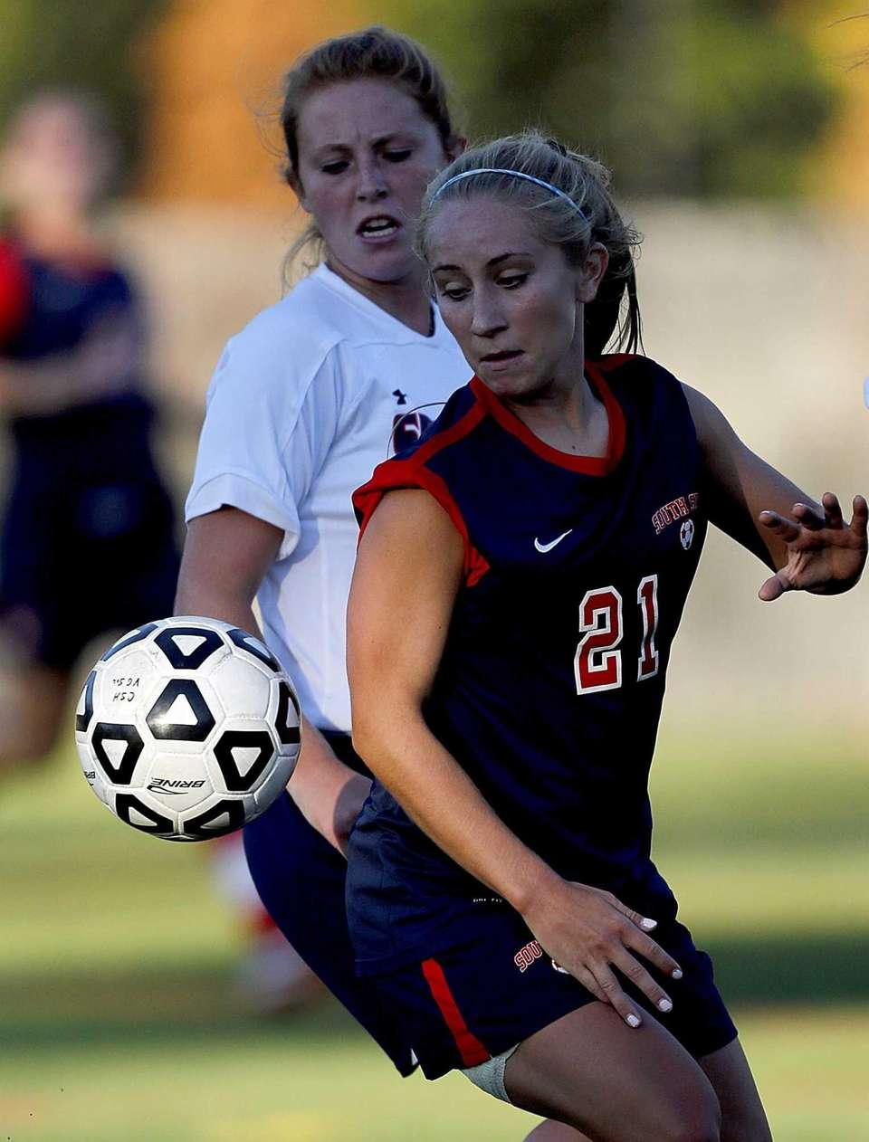 South Side's Christina Klaum controls the ball in