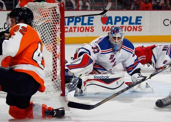 Cam Talbot of the Rangers makes the second