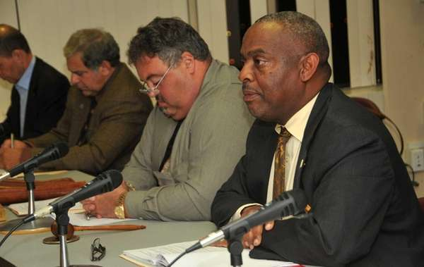 NCC Acting President Kenneth K. Saunders, right, addresses