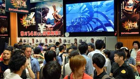 Fans line up to try new video games