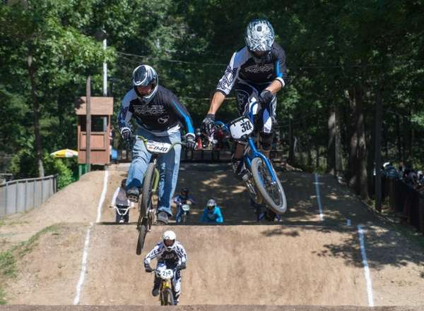 Veteran BMX racers Tom Bivona, 36, left, of