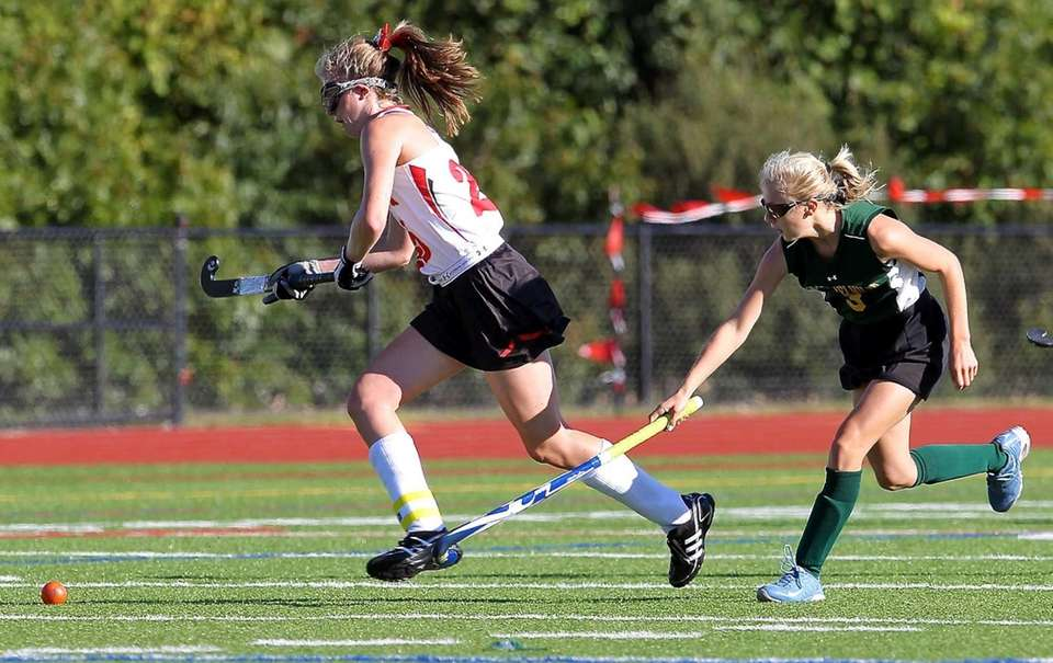 Sachem East's Katie Doherty grabs the loose ball