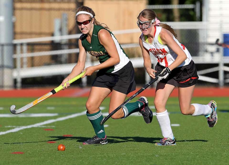 Ward Melville's Kelsey Catalano moves the ball as