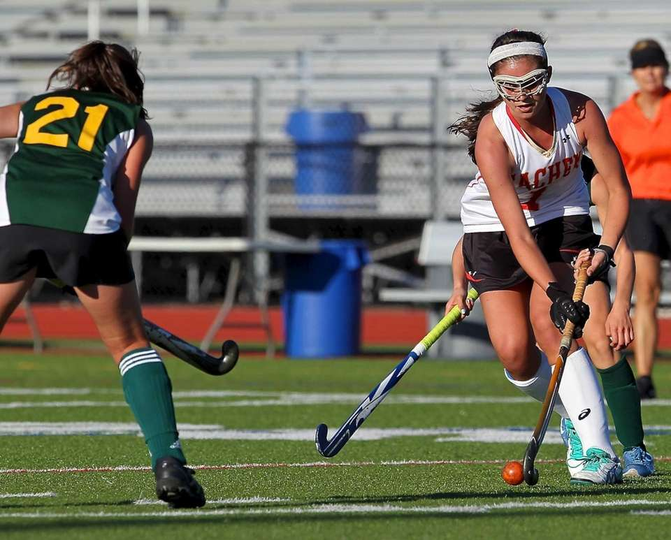 Sachem East's Katie Trombetta stick handles against Ward
