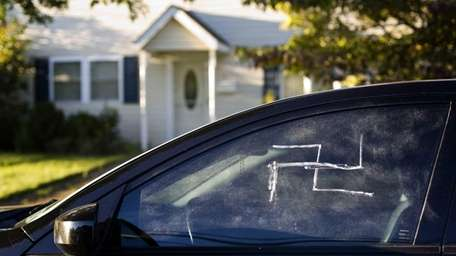 Swastikas were found on several cars in Bethpage