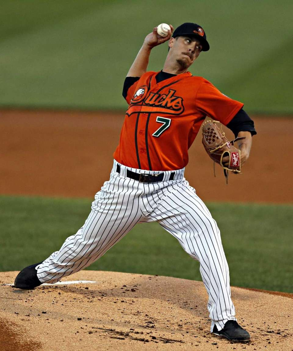 Ducks starting pitcher John Brownell delivers in the