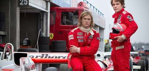 Chris Hemsworth, left, and Daniel Bruhl in a