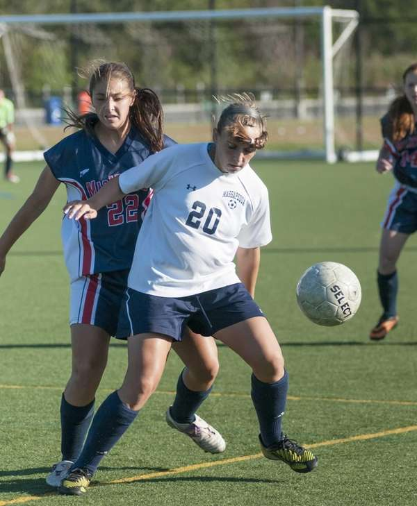 MacArthur's Marissa Giammarusco, left, tries to defend against
