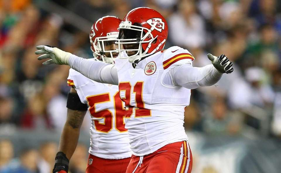 Tamba Hali of the Kansas City Chiefs celebrates