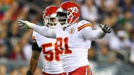 Tamba Hali of the Kansas City Chiefs celebrates