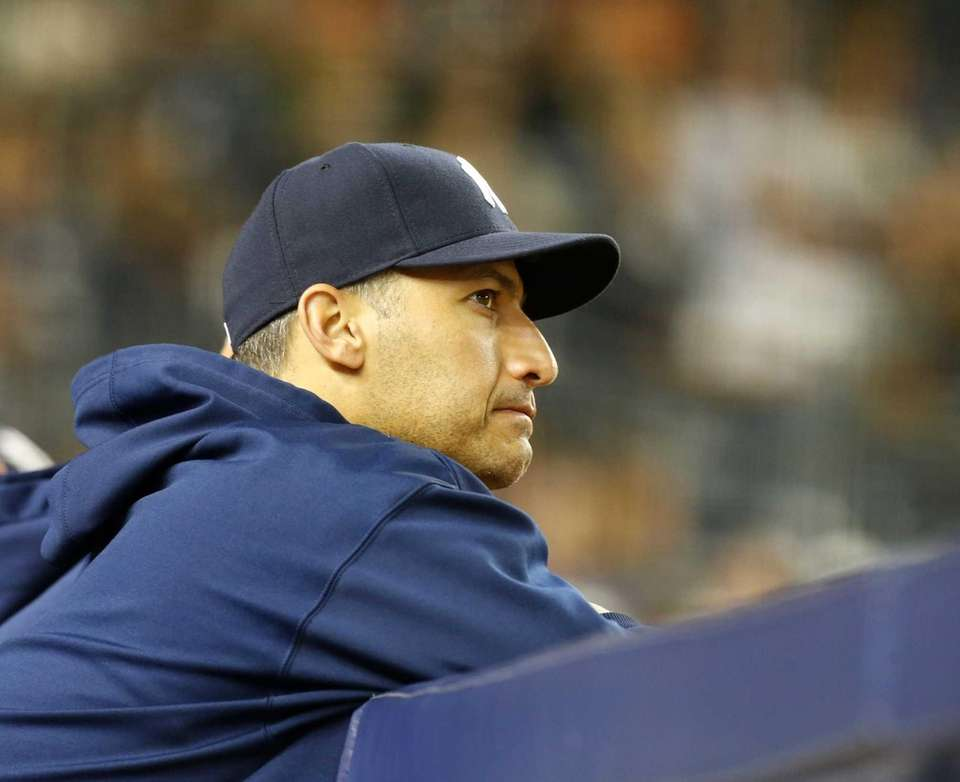 Andy Pettitte of the Yankees looks on from
