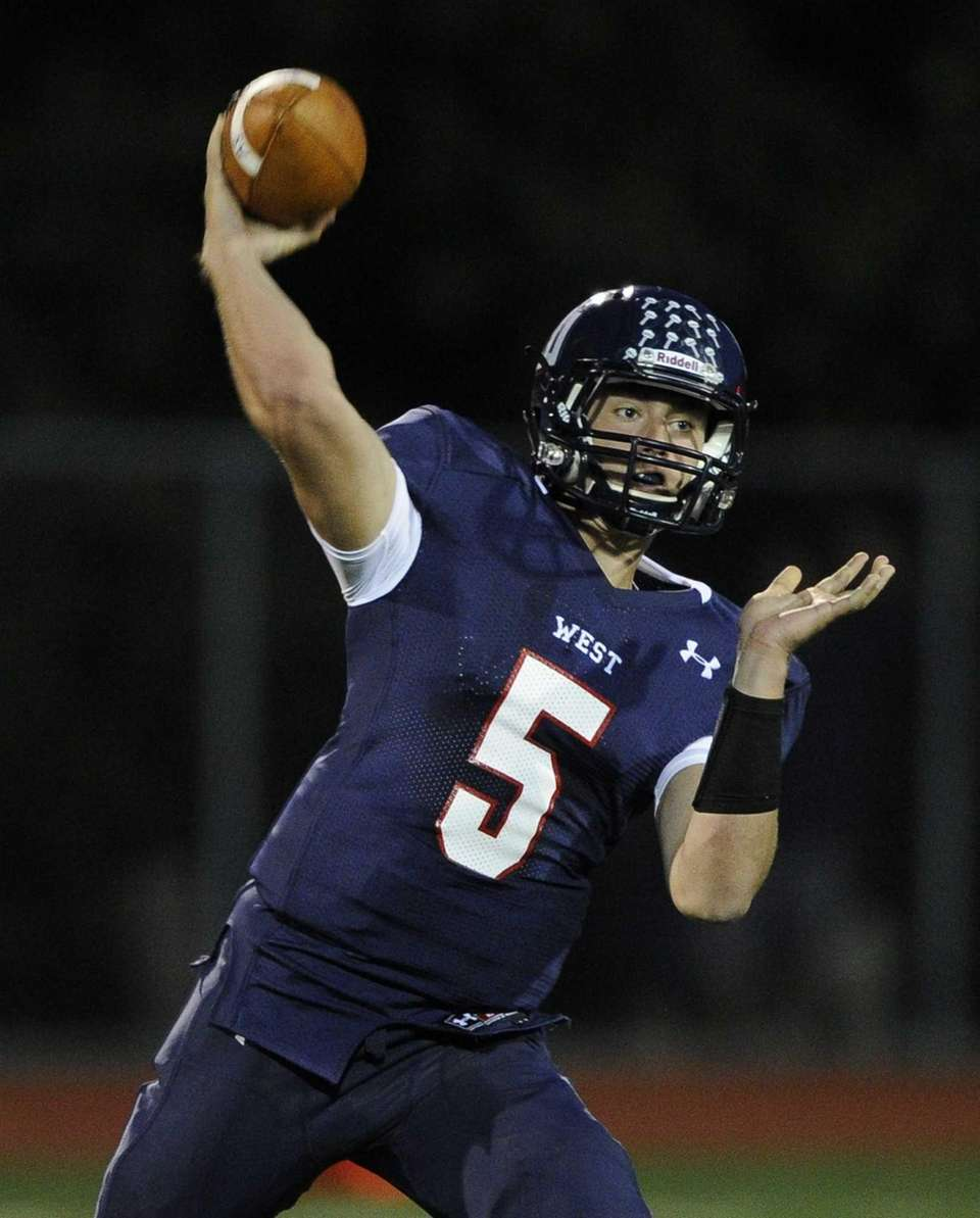 Smithtown West quarterback Matthew K. Heldberg Jr. throws