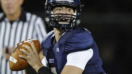 Smithtown West quarterback Matthew K. Heldberg Jr. looks