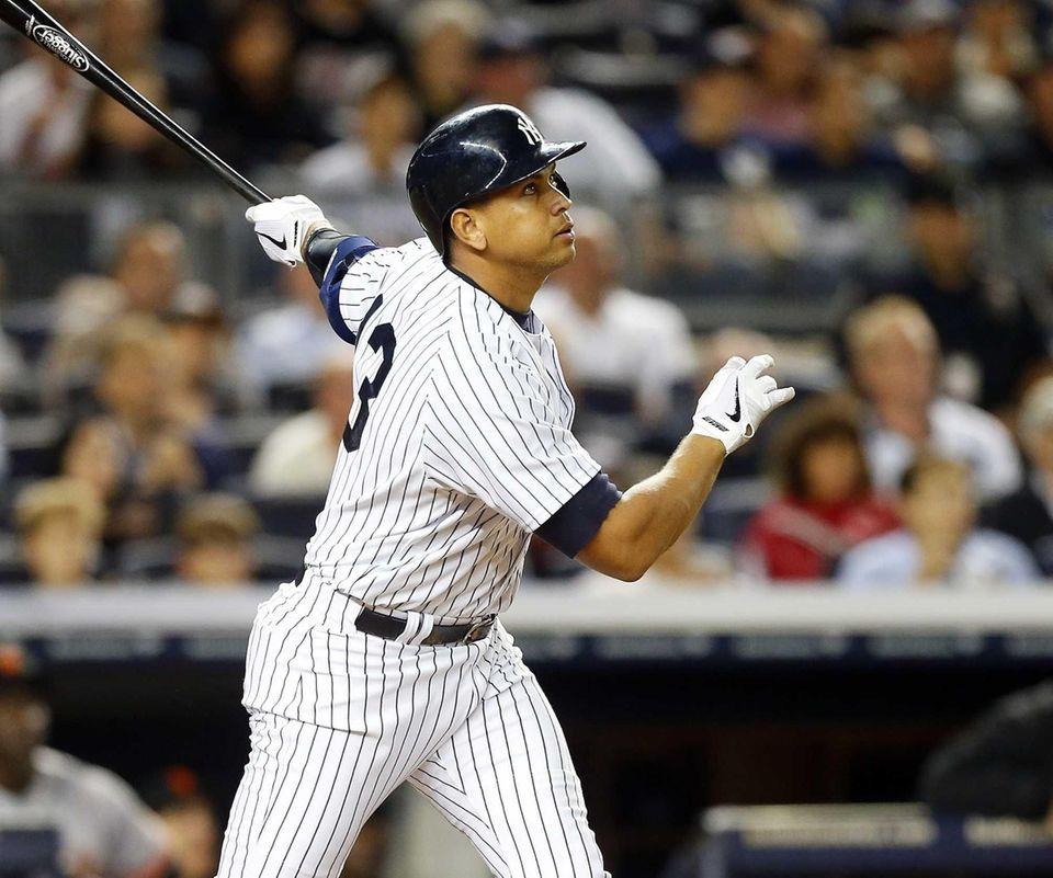 Alex Rodriguez follows through on his seventh-inning grand