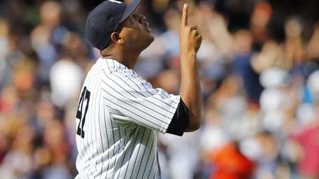 Ivan Nova of the Yankees reacts after the