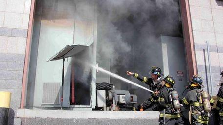 A fire at a Long Island Rail Road