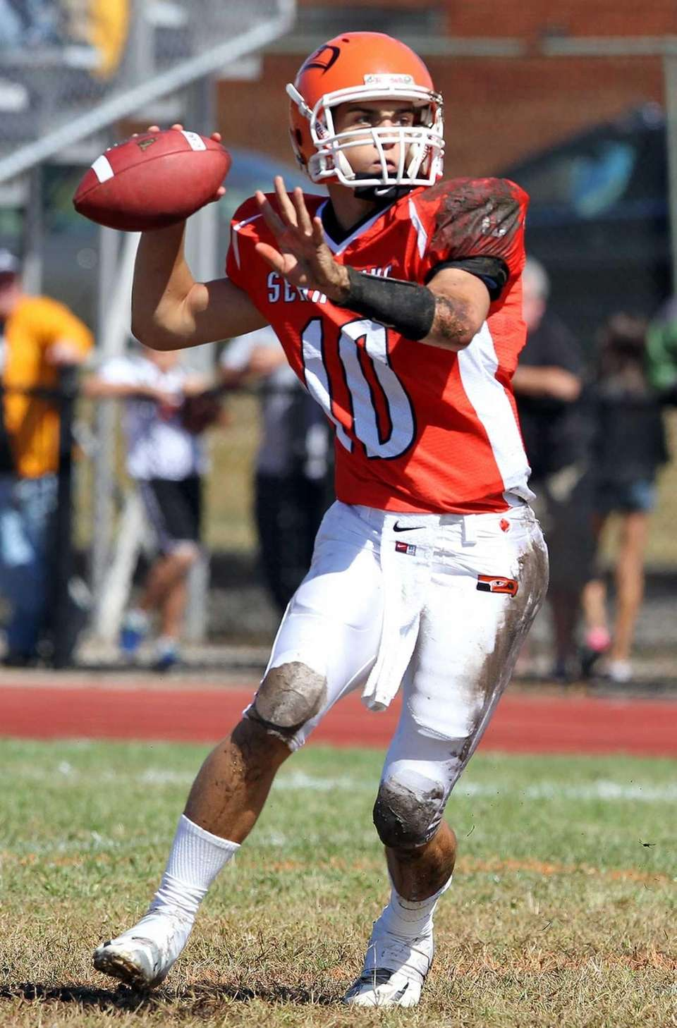Carey quarterback Ray Catapano looks to pass against