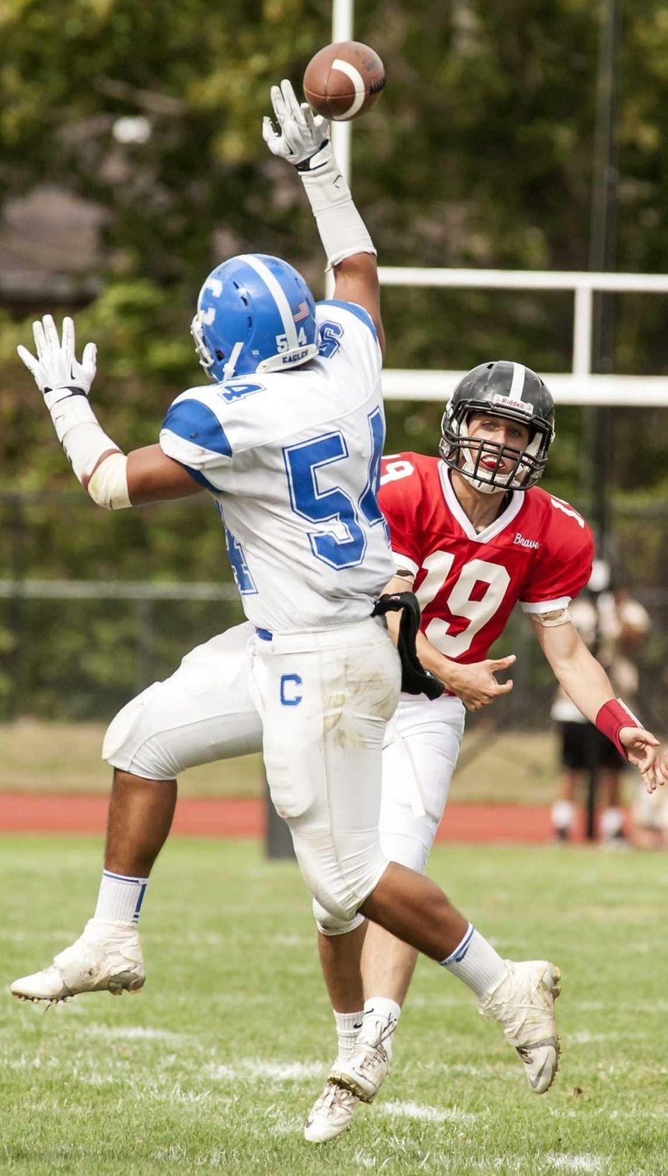 Syosset quarterback Hunter Gross (no. 19) gets his
