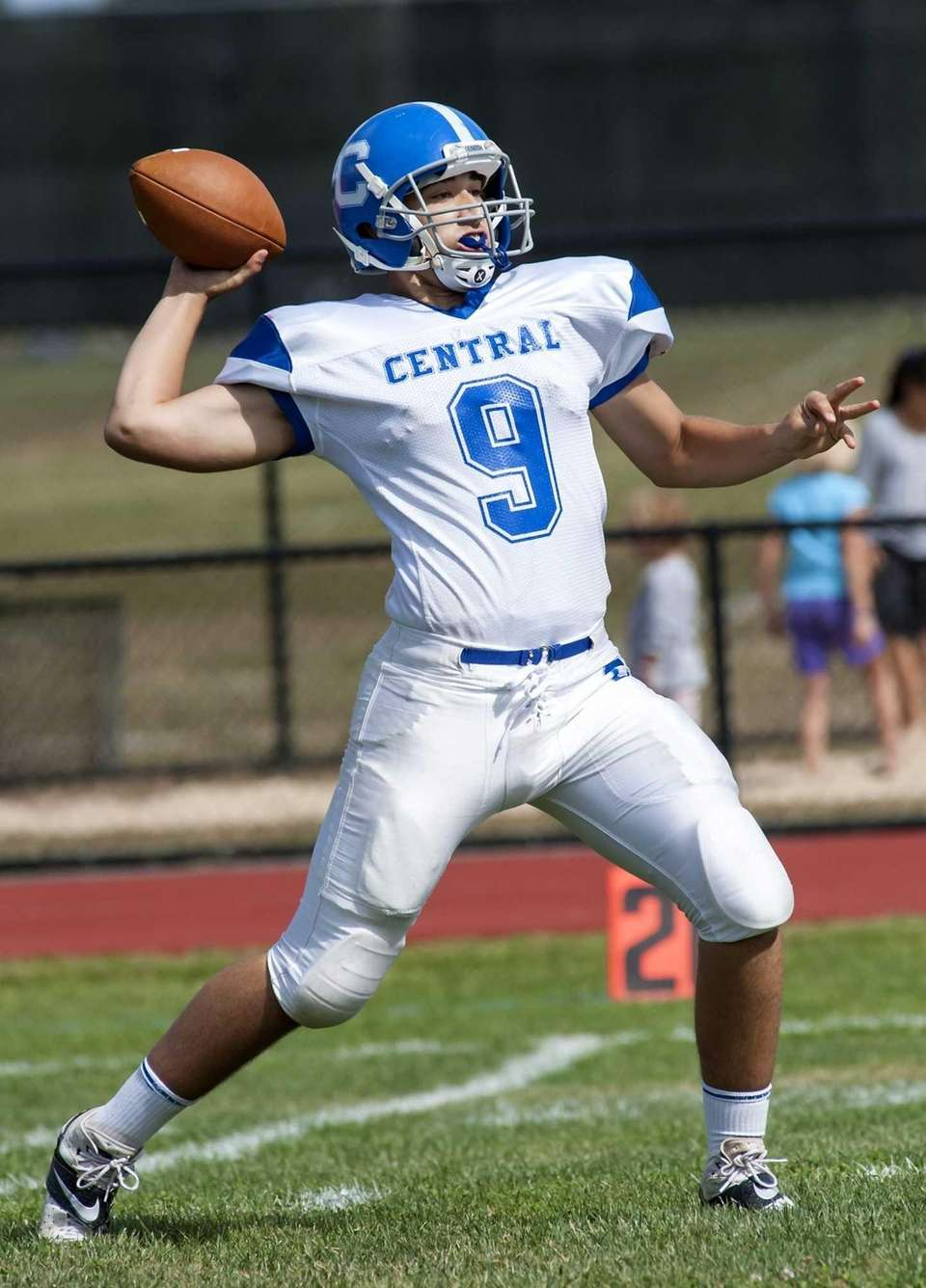 Valley Stream Central's quarterback Vito Friscia looks to