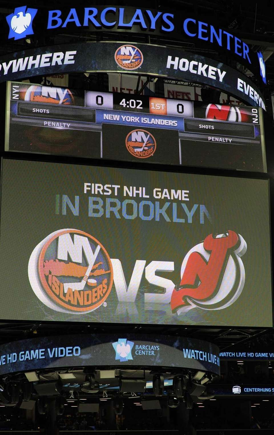 The screen over the ice at Barclays Center