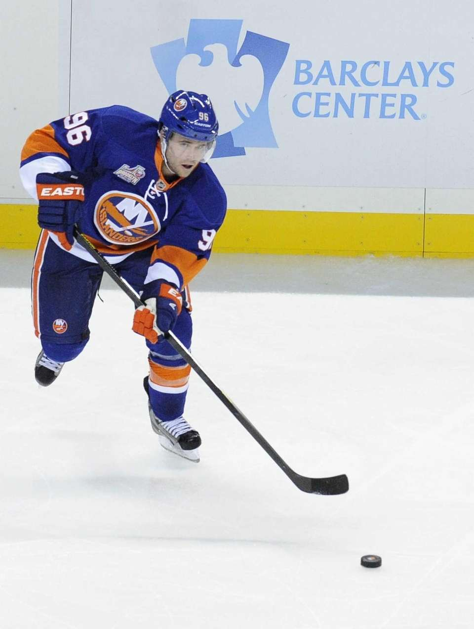 Islanders right wing Pierre-Marc Bouchard skates against the