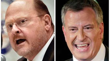 NYC mayoral candidates Joe Lhota, left, and Bill