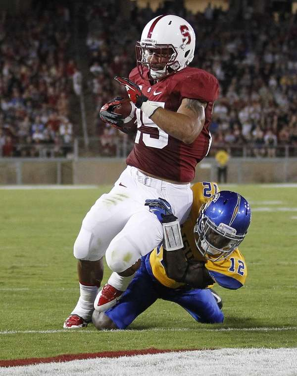 Stanford running back Tyler Gaffney runs for a