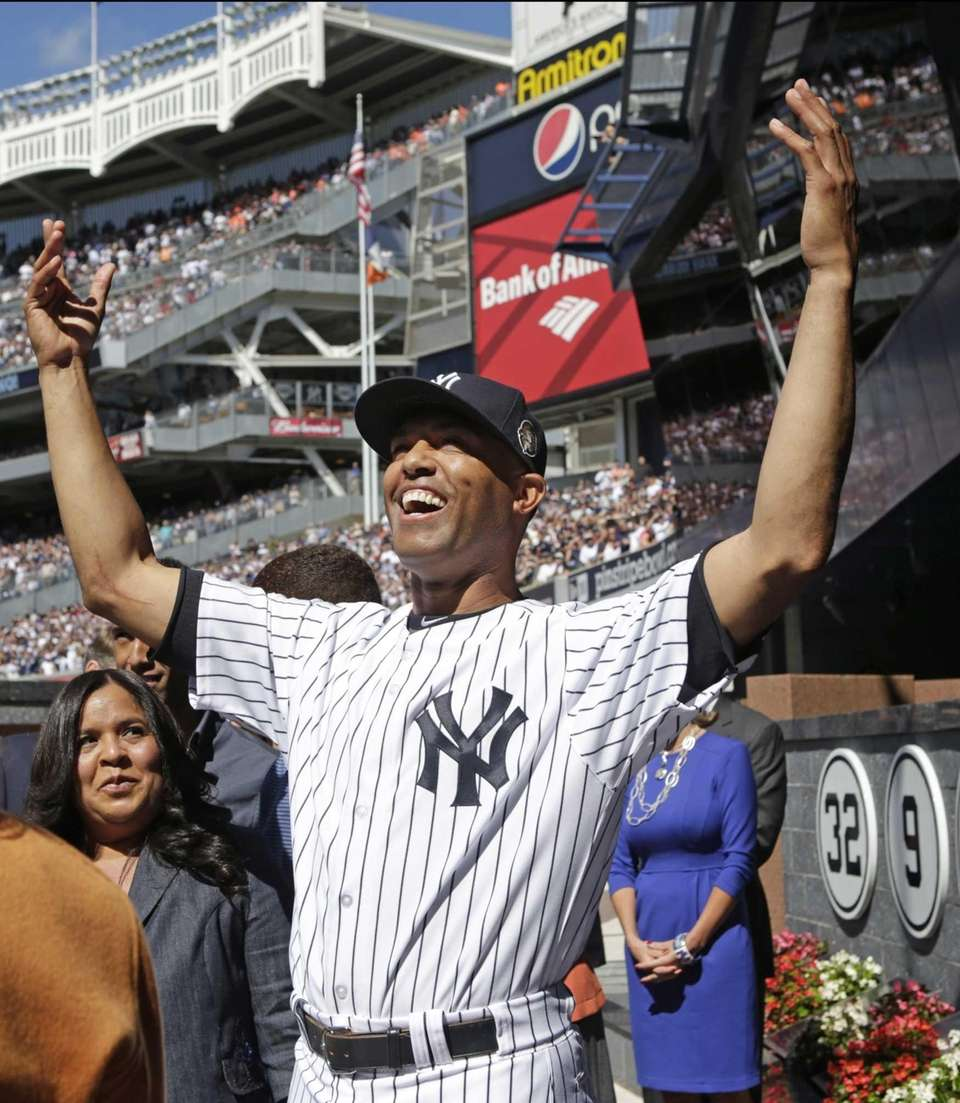 Mariano Rivera acknowledges the crowd from Monument Park