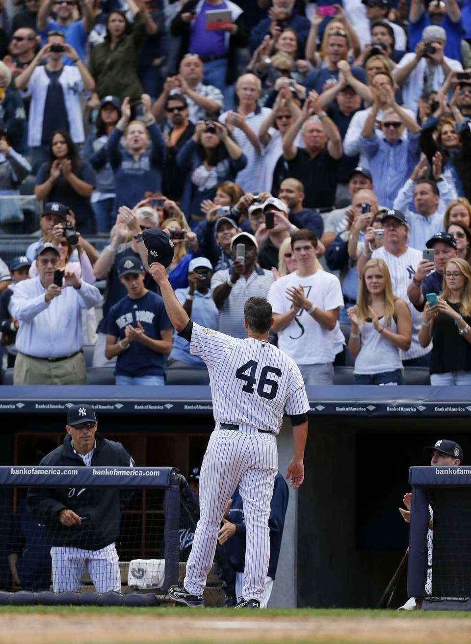 Andy Pettitte of the New York Yankees salutes