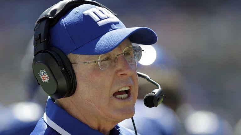 New York Giants head coach Tom Coughlin looks