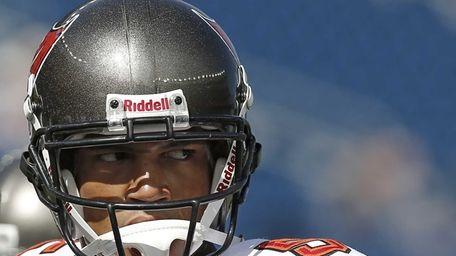 Tampa Bay Buccaneers quarterback Josh Freeman looks on