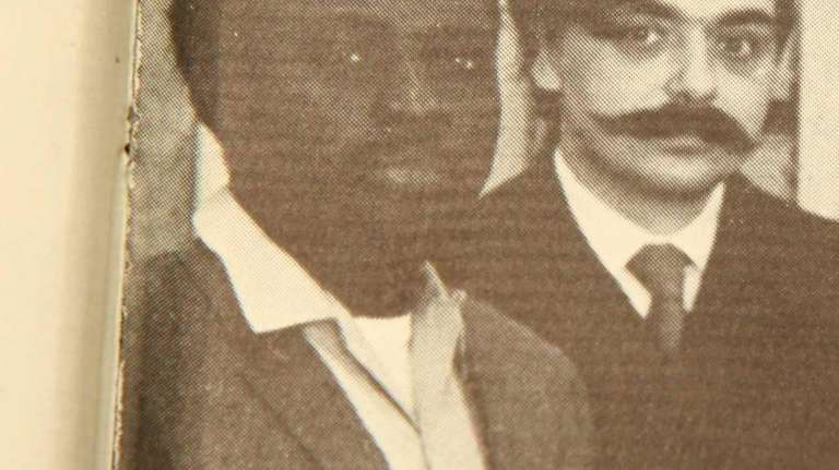 Kofi Awoonor, left, seen in the Stony Brook
