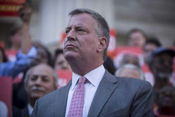 Mayoral candidate Bill de Blasio outside Brooklyn Borough