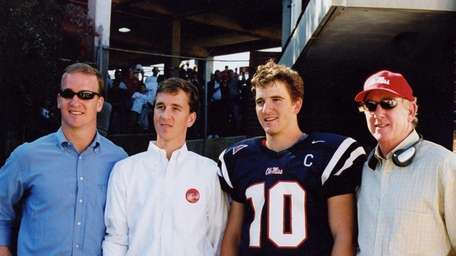 The Manning family, from left: Peyton, Cooper, Eli