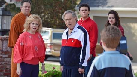 From left, Jeff Garlin, Wendi McLendon-Covey, George Segal,