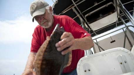 Dr. Bayman Anthony Sougstad unloads live fluke after
