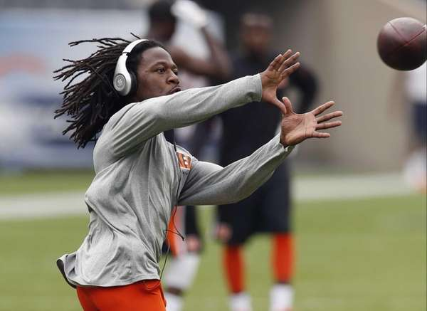 Cincinnati Bengals cornerback Adam Jones warms up before