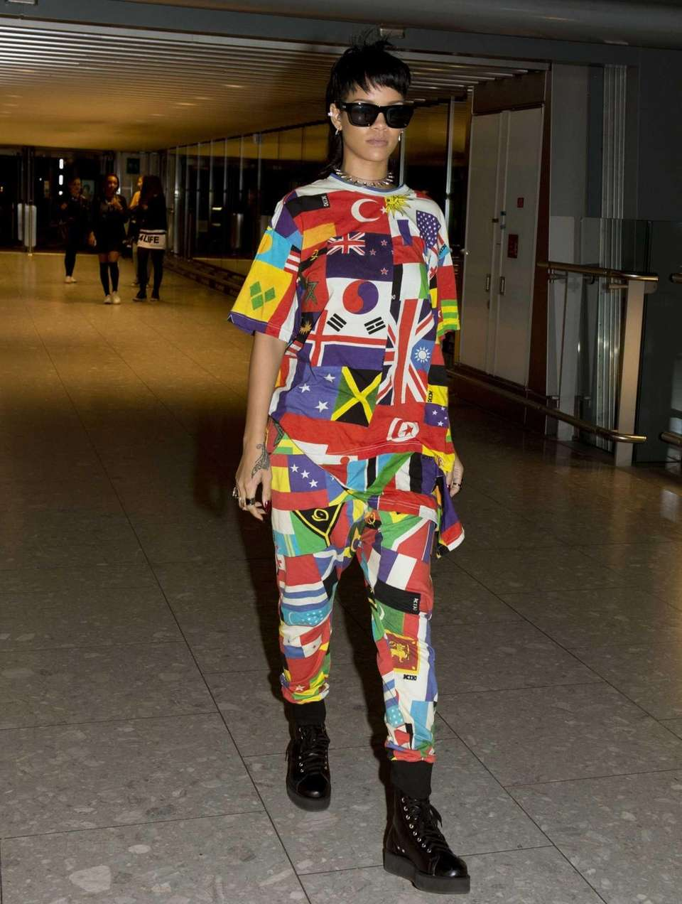 Rihanna departs London's Heathrow Airport en route to