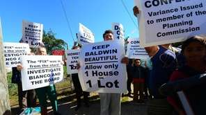 Baldwin residents protest the Nassau Planning Commission's approval
