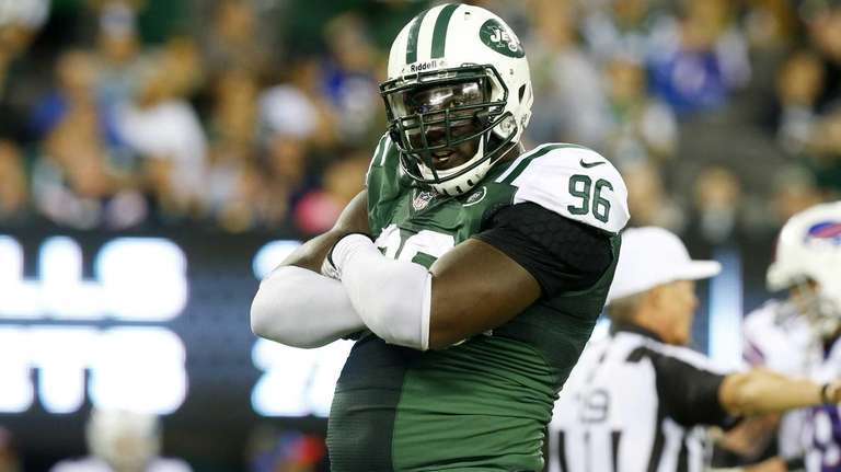 Muhammad Wilkerson of the Jets celebrates his fourth-quarter