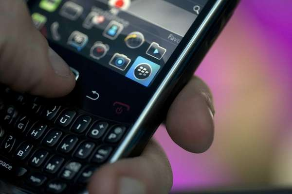The BlackBerry qwerty keyboard, logo and icons are