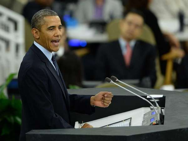 US President Barack Obama speaks during the 68th